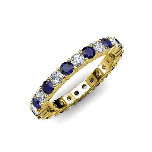 Blue Sapphire and Diamond Common Prong Eternity Band 2.05 ct tw to 2.46 ct tw in 14K Yellow Gold.size 6.0 (Tw Band Diamond Eternity 2ct)