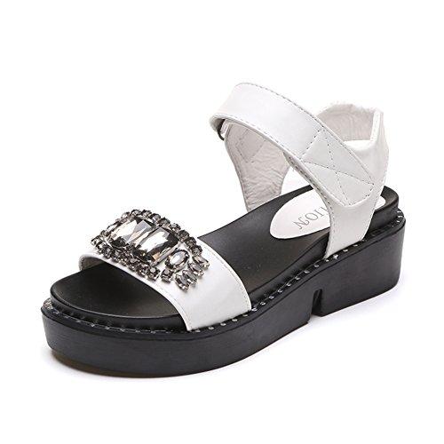 El Diamante Sandalias De Plataforma En El Verano,Blanco Y Negro Moda Sandalias Planas blanco