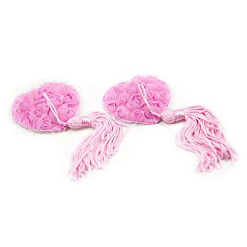 Sticky Bra, Lamolory Women Disposable Flower Shaped Nipple Covers,Tassel Sequin (Pink, Large)