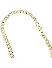 8a9025c2a9b Solid 10K Yellow Gold Italy Cuban Curb Link Chain White Diamond Cut Necklace  8mm Wide with
