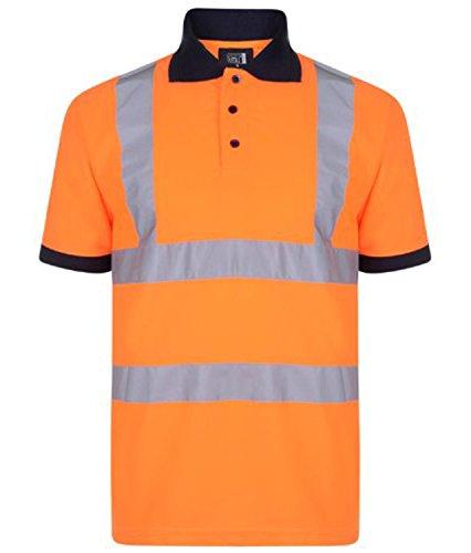 Forever Hi Viz Navy Collar Safety Work Wear High Visability Polo T-Shirt