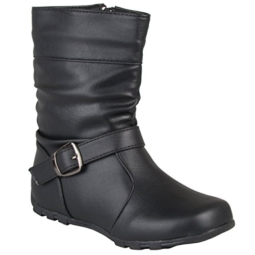 Journee Kids Girl's Slouchy Accent Mid-Calf Boots Black, 3 Regular -
