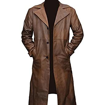 "Batman vs Superman Dawn of Justice - Ben Affleck Leather Trench Coat Jacket- HALLOWEEN SPECIAL (4XL - Jacket Chest 56"")"