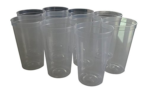 CSBD 10 Pack Blank 22 oz Plastic Stadium Cups Bulk - Made In USA, Reusable or Disposable, Great For Customization, Monograms, Marketing, DIY Projects, Weddings, Parties, Events (10, Clear) ()