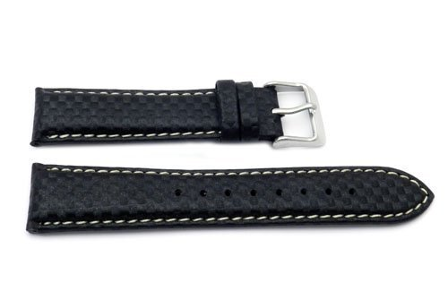24mm Black Carbon Fiber Design Heavy Padded with Stainless Steel Buckle and Leather Lining, Watch Central
