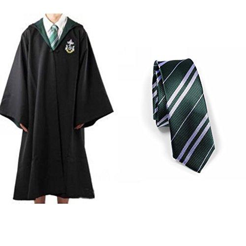 Harry Potter Slytherin School Fancy Dress Robe Cloak Costume And Tie (Size S)