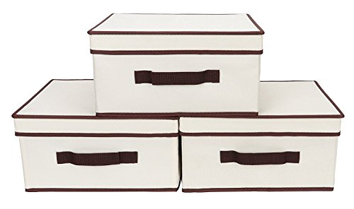 Storage Drawer Organizer with Lid, Foldable Basket Bin for Hanging Closet Organizer By StorageWorks, Polyester Canvas, Natural, 3-Pack