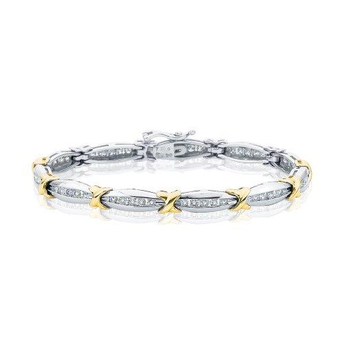 10K Two Tone Gold 2 ct. Diamond Tennis Bracelet -