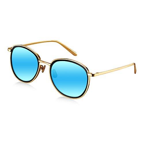 Blue Diamond Mirror Lens (Wenlenie Women's W518 Gold Frame/Mirror Blue Lens Titanium Round Aviator Sunglasses)