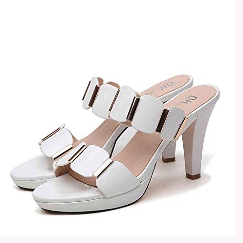 Helen Pattini freddi dei sandali femminili degli alti talloni femminili di modo di estate con le donne esterne grezze (nero) ( dimensioni : 38 yards )