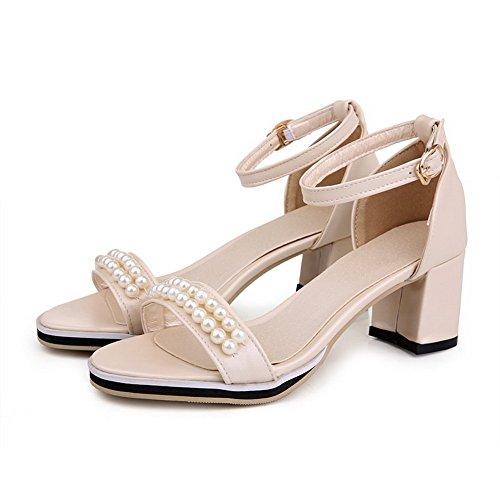 AmoonyFashion Womens Pu Kitten Heels Open Toe Solid Buckle Sandals Beige 4c6mLx