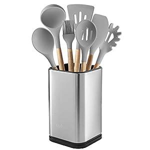 """Stainless Steel Kitchen Utensil Holder, Kitchen Caddy, Utensil Organizer, Modern Rectangular Design, 6.7"""" by 4… 8"""