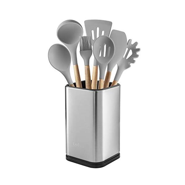 """Stainless Steel Kitchen Utensil Holder, Kitchen Caddy, Utensil Organizer, Modern Rectangular Design, 6.7"""" by 4… 1"""