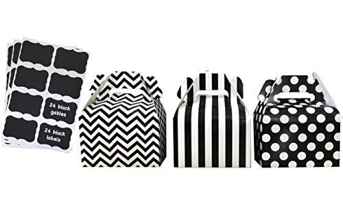 (Black Paper Gable Favor Boxes Chevron Polka Dot Stripe - Scalloped Chalkboard Labels - 24 Pack)