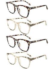 O-Q CLUB Set of 4 Retro Round Reading Glasses Spring Hinge Readers Men Women for Reading 1.0,1.5,2.0,2.5,3.0,3.5
