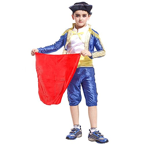 Boys Matador Halloween Cosplay Costumes Role Play Child Spanish Dress up (8-10) -