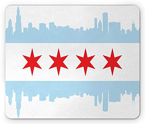 8447175bc4810 ThrieApple Chicago Skyline Mouse Pad, City of Chicago Flag with High Rise  Buildings Scenery National, Standard Size Rectangle Non-Slip Rubber ...