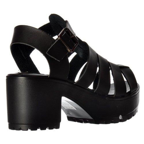 Damer Sko Flatforms 3 8 Strappy Sandaler Sorte Kilt Plattformer Uk8 xrtapYUrqw