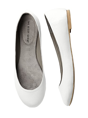Simple By Satin White Dessy Flat Ballet Women's v4wqa