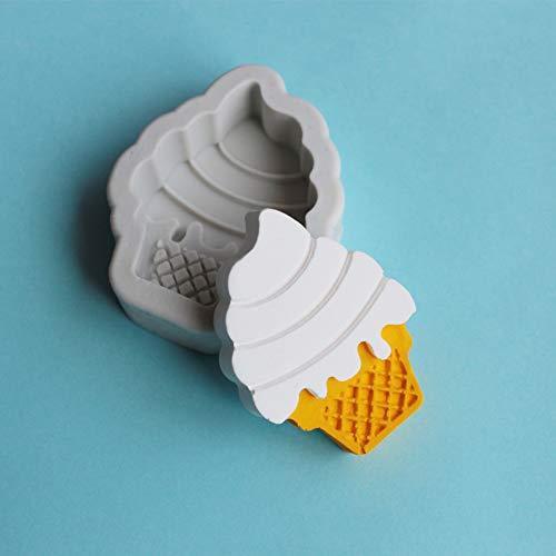- eroute66 Ice Cream Cone Silicone Mold Fondant Cake Chocolate Clay Decorating Baking Tool Gray White