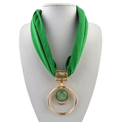 - Sample9 Short Scarf Alloy Vintage Faux Crystal Hoops Pendant Collar Chain Necklace Soft (Green)