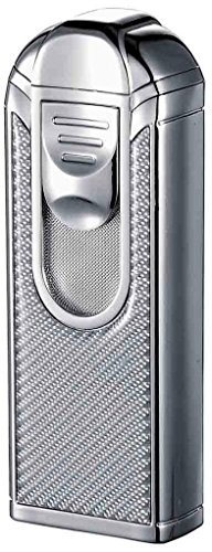 Visol Alec IV Chrome and White Carbon Fiber Quad Torch Flame Table Lighter by Visol