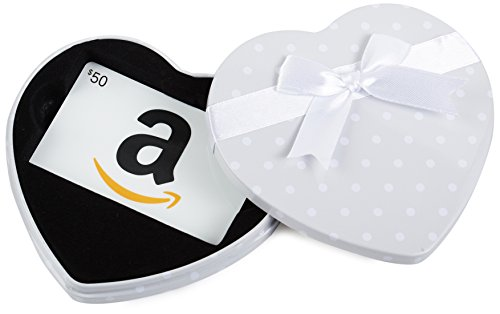 Amazon.com $50 Gift Card in a White Heart Tin (Classic White Card Design)