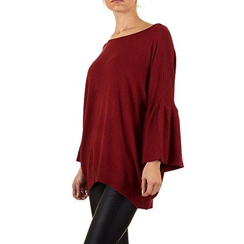 Oversize Volant Long Pullover Für Damen , Rot Bei Ital-Design