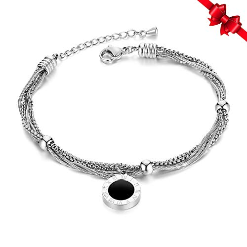 Women Multi-Layer Wrap Chain Bracelet Stainless Steel Roman Numerals Charm for Women Girls ()
