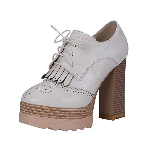 Carolbar Kvinnor Snör Åt Upp Retro Mode Vintage Charm Plattform Hög Chunky Klack Fotled Klänning Boots Beige