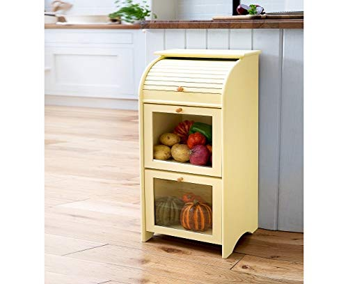 Winchcombe Furniture Buttermilk Vegetable Store Cupboard Integral Bread Bin Top Storage Shelf Cream