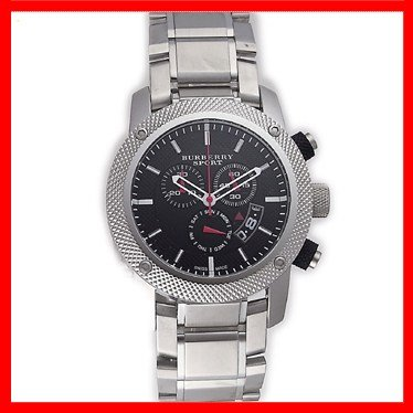 SALE! Authentic Burberry Sport Swiss Chronograph Watch Unisex Men Stainless Steel Black Date Dial BU7702