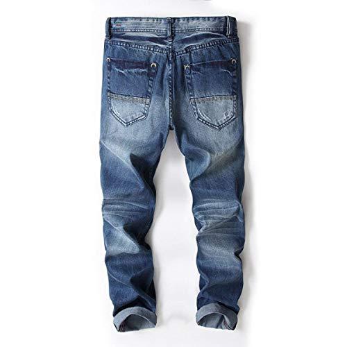 Vita Larghi Dritto Da Jeans Strappati Slim Uomo Blu In Pantaloni Fit A Eleganti Denim Bassa PwxaaEIdq