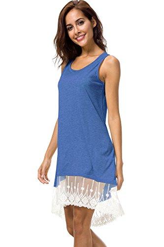 Femmes Kemosen Ourlet En Dentelle D'été Lâche Longueur Genou Décontracté Haut Balançoire Manches Bleu Ciel Robes T-shirt
