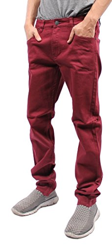 Victorious Mens Color Skinny Jeans (30/30, Burgundy)
