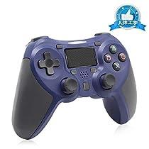 コントローラー ps4 ワイヤレス PS4 Pro/Slim PC対応 HD振動 連射 ゲームパッド Dual-shock 4 ゲームコントローラー USB Bluetooth 接続 イヤホンジャック スピーカー内蔵 6軸センサー 高耐久ボタン