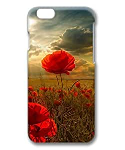 iCustomonline Case for Samsung galaxy S6 PC, Poppies Printed Clear Stylish Durable Fashion Artist series Back Slim Cute Designed Case for iPhone 6 (4.7 inch) 3D