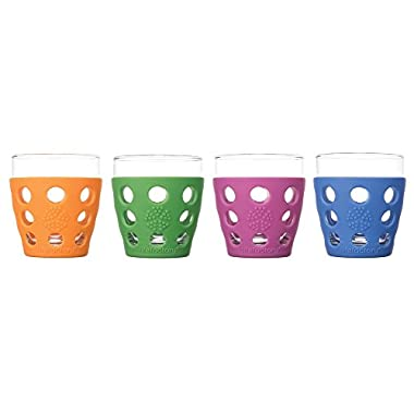 Lifefactory 10-Ounce BPA-Free Indoor/Outdoor Glassware with Protective Silicone Sleeve, Multicolor, Set of 4