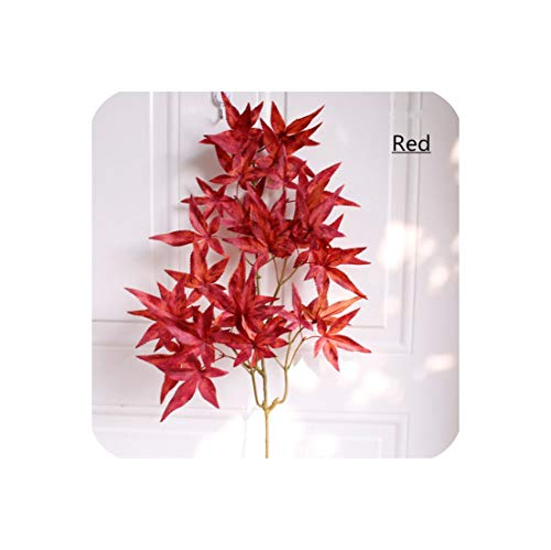 (Autumn 5Branch 32 Leaves High Simulation Artificial Silk Green Plant Decor for Home Party Christmas Garden Maple Leaf Plant Wall,Red)