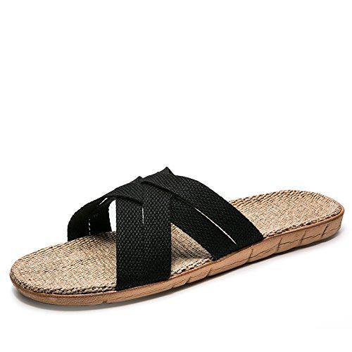 gli donne a estate il Cina legno e C pavimento le in il vento In 45 fresco rimanere nel pavimento in fankou morbido pantofole Nero sisal uomini pantofole U6WEHPp5q