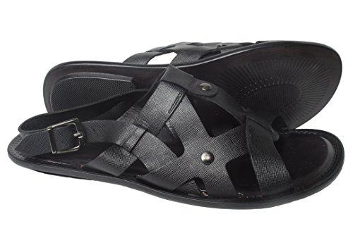 Giovanni Conti 602 Italienske Menns Sorte Sandaler Med Rygg Stropp