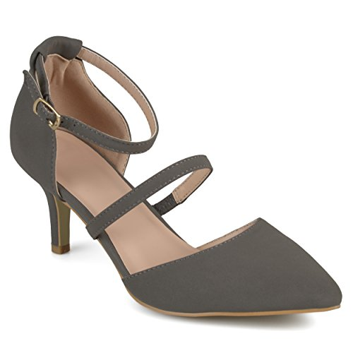 Journee Collection Womens Faux Suede Ankle Strap Pumps Grey