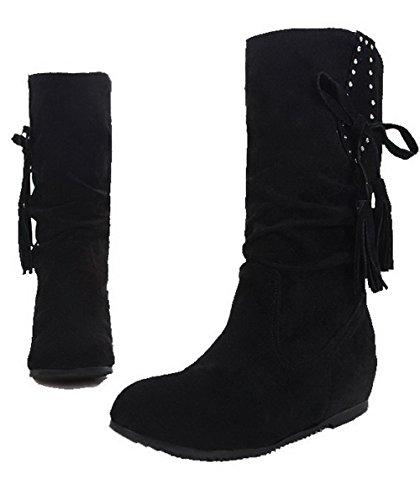 AgeeMi Shoes Damen Ziehen auf Mittler Absatz Rund Zehe Mitte-Spitze Stiefel Schwarz
