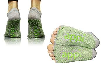 Calcetines sin dedos, agarre antideslizante, para pilates, de APPI: Amazon.es: Deportes y aire libre
