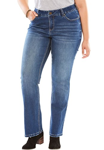 Women's Plus Size Curvy Slimmer Bootcut Jean Medium,28 W by Woman Within