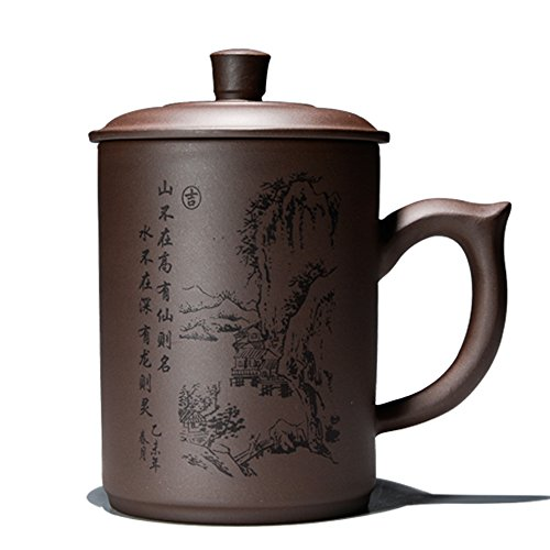 Chinese Handcraft Bone (XDOBO Yixing Zisha Handcraft Purple Clay Tea Cup Kung Fu Tea Cup, Simple Chinese Tea cup - 500ml/ 17.6 oz Capacity)