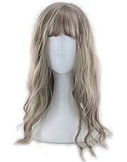 Chenzinan Señora de lino gris de pelo largo rizado de uso diario