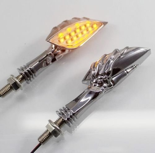 DLLL One Pair DC 12V 12 LED Universal Skull LED TURN SIGNAL Light Indicator Dual Sport Dirt Bike Motorcycle Fits most Motorcycle,Street Bike,Cruiser/Chopper,Custom Bike & Touring with 8mm mounting bolts (Silver)
