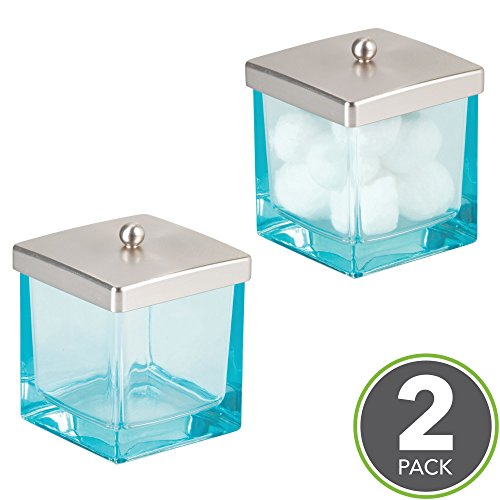 Blue Storage Jar (mDesign Bathroom Vanity Glass Storage Organizer Canister Jars for Q tips, Cotton Swabs, Cotton Rounds, Cotton Balls, Makeup Sponges, Bath Salts - Pack of 2, Square, Blue/Brushed)