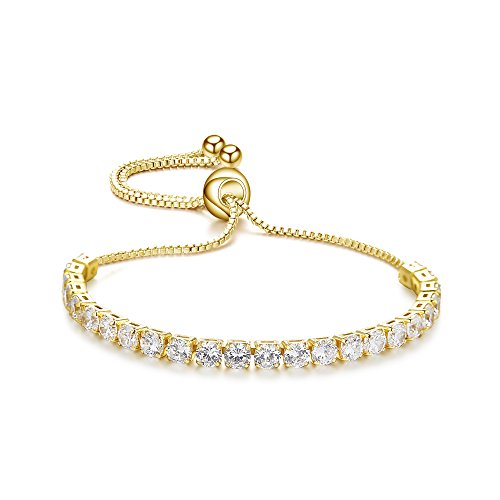 ASHMITA Fashion Adjustable Chain Bracelet for Women,Cubic Zirconia 18K Gold Gift Bracelet of Luxury Shining Jewelry - Gold Four Prong Diamond Bracelet